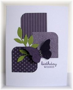 A couple of squares, a corner rounder, a couple of punched shapes and a simple greeting and voila! A dramatic and interesting card! NF