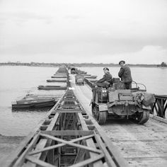 """viktor-sbor: """"British vehicles crossing 'Lambeth Bridge', one of the pontoon bridges over the Rhine in Germany, 26 March 1945 """" Coaster, Ww2 History, Ww2 Photos, Roller, Architecture Student, North Africa, World War Two, British Royals, Military Vehicles"""