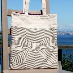 big bow cotton tote bag
