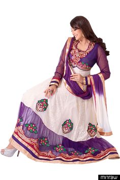 Gorgeous white ankle length anarkali suit