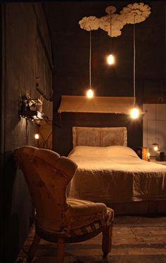 beautiful dark bedroom by James Plumb  Love the multiple ceiling roses