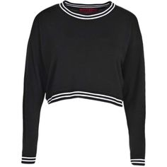 Boohoo Ivy Crop Fine Knit Stripe Contrast Jumper (175 ARS) ❤ liked on Polyvore featuring tops, sweaters, crop tops, shirts, crop shirt, cropped jumper, shirt crop top, jumpers sweaters and shirt top