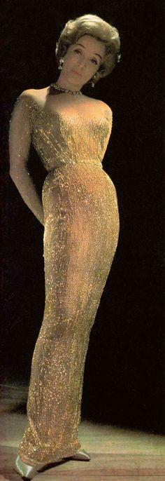 MARLENE DIETRICH early 1960's in a Jean Louis gown. From Marlene Dietrich's special edition of Paris Vogue. Dec 1973-Jan 1974. (please follow minkshmink on pinterest)