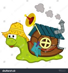 snail with a house - vector illustration, eps