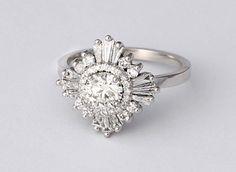 Mid Gatsby Ring - Art Deco, engagement, custom made, vintage, anniversary - white sapphires, diamonds, moissanite, morganite, black diamonds by HeidiGibsonDesigns on Etsy https://www.etsy.com/listing/240561457/mid-gatsby-ring-art-deco-engagement