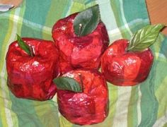 """Paper Mache Crafts to Make Love the looks of these """"not so perfect"""" apples.  Imagine them in a bowl."""