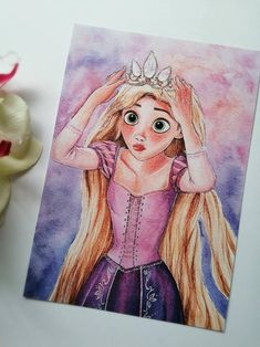 Disney Drawings Sketches, Disney Princess Drawings, Disney Princess Art, Art Drawings Sketches Simple, Cartoon Drawings, Cartoon Art, Original Disney Sketches, Disney Princess Paintings, Rapunzel Crown