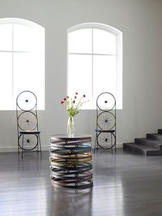 Bicycle Wheel Spring Side Table Painted ID66434 | Rug & Home