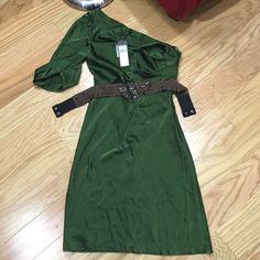 BCBG MaxAzria Dress Brand New with tags One sleeve Military Green Midi with belt. BCBGMaxAzria Dresses Midi