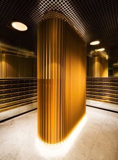 What an amazing idea for a residential mail room. Light Architecture, Architecture Details, Interior Architecture, Interior Lighting, Lighting Design, Mail Room, Column Design, Lobby Design, Lounge