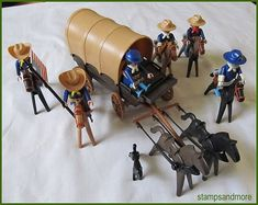 Vintage Geobra Playmobil 1974 Civil War Soldiers - Planwagon - Horses - Many Accessories