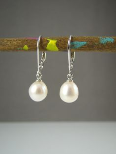 White Pearl Drop Earrings on Sterling Silver Hooks, Gift for Her, Dangle, Elegant, Classic on Etsy, $15.00