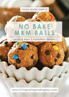 Got a cookie craving and no time to bake? These delicious no-bake M&M cookie balls whip up in just minutes using just a handful of ingredients! No Bake Cookies, Cookies Et Biscuits, 5 Ingredient Desserts, Easy Baking Recipes, Creamy Peanut Butter, Almond Butter, Vegetarian Chocolate, Sweet Treats, Dessert Recipes