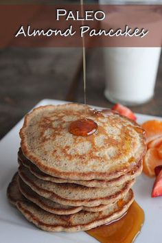 Almond pancakes 1 ¾ cup almond flour 2 eggs, whisked ½ tsp salt 1 tsp vanilla extract ½ tsp cinnamon ¼ tsp Nutmeg c almond milk (or water!) Add 2 tblsp of honey Paleo Snack, Paleo Breakfast, Breakfast Recipes, Paleo Diet, Paleo Food, Paleo Recipes, Low Carb Recipes, Whole Food Recipes, Cooking Recipes
