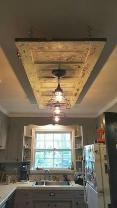 Home decor kitchen - Pretty Kitchen Ceiling Lighting Design Ideas Farmhouse Decor, Home Diy, Kitchen Ceiling, Rustic House, Kitchen Ceiling Lights, Old Door Projects, Home Decor Kitchen, Diy Home Decor, Home Decor