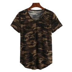 5f44f7efc93126 Barato Camo T shirt de Gola V Sexy Verão das mulheres Camiseta de Manga  Curta Casuais