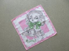 Woof: darling vintage hankie: a childs handkerchief featuring a sweet puppy on a pink background. Handkerchief is cotton; no labels are present. Vintage condition: one small spot and small pinholes at edge (pls. see photos 4 and 5 and zoom in on all photos). Measures approx. 8 1/2 by 8 1/2 inches.  Super kawaii!  Shipping costs can be easily located by clicking the Shipping and Policies tab.  For more vintage goodness, please peruse the rest of my shop: www.bettyanddot.etsy.com  Im ...