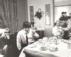 Cynthia Powell-Lennon, John Lennon, Louise Harrison (George's sister), and George Harrison