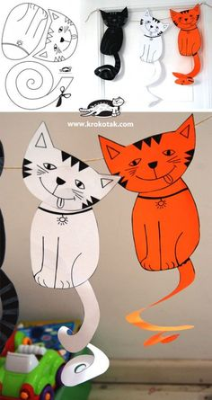 Ideas For Origami Paper Printable Crafts Cat Crafts, Animal Crafts, Crafts For Kids, Projects For Kids, Diy For Kids, Art Projects, Paper Art, Paper Crafts, Three Cats