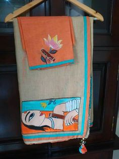 Saree Painting Designs, Fabric Paint Designs, Kalamkari Blouse Designs, Modern Indian Art, Knitted Owl, Painted Clothes, Fabric Painting, Shiva, Watercolor Art