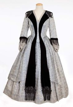 """Thelma Ritter """"Agatha Clegg"""" blue silk gown from How the West Was Won. (MGM, Pale blue silk brocade gown with v. Hollywood Costume, Hollywood Dress, Hollywood Fashion, Victorian Fashion, Vintage Fashion, Vintage Dresses, Vintage Outfits, Theatre Costumes, Movie Costumes"""