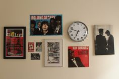 Music & pop culture-inspired wall collage in @Alexia Mansour's office/guest room I helped redo.