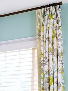 """By Sarah Egge . Drapes are curtain panels that literally """"drape"""" the window. Typically, they hang on a rod secured across the top of the . Window Drapes, Hanging Curtains, Window Coverings, Drapes Curtains, Window Treatments, Bedroom Curtains, Kitchen Curtains, Layered Curtains, Floral Curtains"""