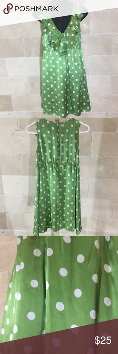 ~Ann Taylor Loft ~🍏Green/White Polka Dot Dress Loft 100% Silk. Sleeveless Shiny 🌞Summer Dress. 👗Ruffled collar. Green w/ white polka dots. Empire stretch waist. Lining 100% Polyester. Has a tiny spot middle front, (3rd pic) barely noticeable because so shiny. Also on right back of shoulder rub mark (4th pic) otherwise looks brand new! Smoke free/ Pet free home :) LOFT Dresses