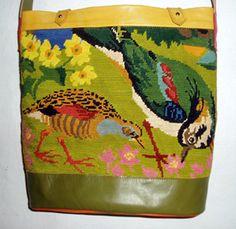 JEAM-DE-SAC des canevas du cuir des sacs, vintage needlepoint repurposed