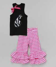 Take a look at the Black '6' Tank & Ruffle Pants - Girls on #zulily today!