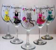 bridesmaid gift idea  Hand Painted Yellow Grey Purple Pink Blue Bridesmaid Wedding Wine Glasses Wedding Favors. $15.00, via Etsy.