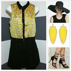 """""""Wild Horse"""" rompers NWOT Brand new, no tags  Chic yet playful horse print romper! Top part is a mustard yellow with white horses, Gold button up detail and black collar. So comfortable. Pair with flats or heel and just add statement jewelry and you are ready for the day!  Gold button details Side pockets Zip up/Gold button up front Length approx 28"""" Bust seam to seam approx 17.5"""" 100%polyester Dresses"""