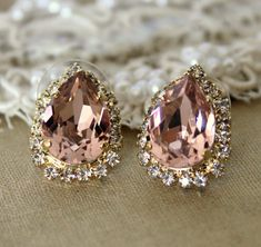 Pink Crystal big teardrop stud earring - 14k plated gold post earrings real swarovski rhinestones .. $38.00, via Etsy.