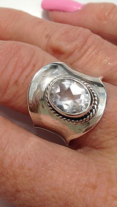 Sterling Silver, Green Amethyst Wide Band Ring, Size 7 1/2 by CopperfoxGemsJewelry on Etsy