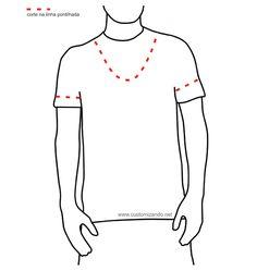 6f9eee2a2d Customização camiseta masculina Diy Roupas Masculinas