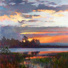 Sunrise on Creighton Island, Oil, 30 x 30 Landscape Art, Landscape Paintings, Oil Pastel Art, Aesthetic Painting, Oil Painting Abstract, Beautiful Paintings, Art Projects, Sunrise, Fine Art