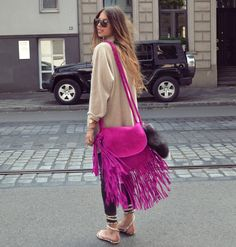 Pink Fringe! Yes, please! Let the fringe be your colour pop!