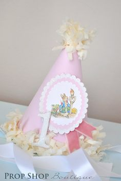 READY TO SHIP, Girls Peter Rabbit Birthday Party Hat, Special Occasion, Photo Prop