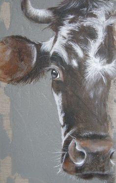 a half Norman! Farmhouse Paintings, Farm Paintings, Animal Paintings, Bull Painting, Painting & Drawing, Cow Drawing, Cow Pictures, Farm Art, Cow Art