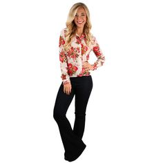 The Roses Are My Favorite Top is a girly twist on the classic button-down!