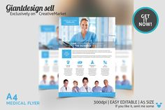 Check out A4 Medical Flyer Template by GiantDesign Shop on Creative Market https://creativemarket.com/GiantDsgn/98615-A4-Medical-Flyer-Template
