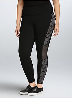 <p>Who says workout wear can't be killer fashion? We say look hot and move with comfort no matter what. Sexy. Edgy. Go for it. <b>Torrid Active - performance with attitude.</b></p>  <p></p>  <p>All set for a bike ride, these 4-way stretch black skull print leggings are designed to maintain their form-fitting shape. Wicking technologies will keep you cool and dry, the high mesh waistband will smooth out your tummy, and flat seams will improve your mobility and comfort. Side mesh i...