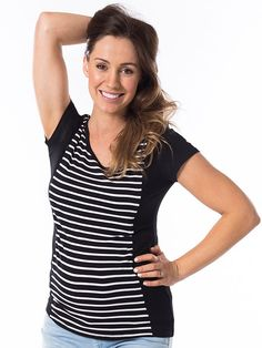 Licorice Stripe Breastfeeding Top from breastmates.co.nz -- What's black and white and comfy all over? This illusion-style top features a black-and-white striped hourglass panel on the front to give your figure a flattering silhouette. With hidden side zips for easy breastfeeding access, the clever design is bump-friendly and kind to your post-baby shape too. Breastfeeding Clothes, Nursing Tops, Clever Design, Short Tops, Hourglass, Bump, Zippers, Illusion, Comfy