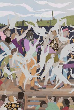 """NGV Triennial 2018 Kushana BUSH """"Soft cheeks woebegone"""" gouache, matallic paint and pencil x cm) (image) x cm (framed) National Gallery of Victoria, Melbourne Purchased with funds donated by Jo Horgan and Peter Wetenhall, 2015 © Kushana Bush Kinds Of Dance, Chanel, Art Portfolio, Artist Names, Cool Tools, Figure Painting, Gouache, New Art, Art History"""