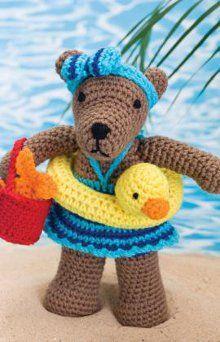 1500 Free Amigurumi Patterns: Bear cute kawaii swimming crochet bear pattern love the rubber duck swimming ring