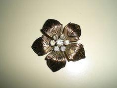 Ladies Vintage Gold Tone Flower Rhinestone Brooch by FoxJewelryBoutique on Etsy