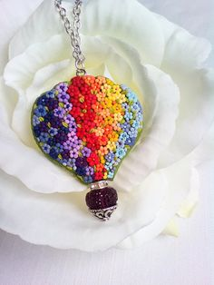 Rainbow hot balloon floral pendant, Embroidery floral pendant, Polymer clay rainbow necklace, Gift for her, Polymer clay applique jewelry