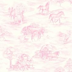 PINK TOILE OF HORSES WALLPAPER