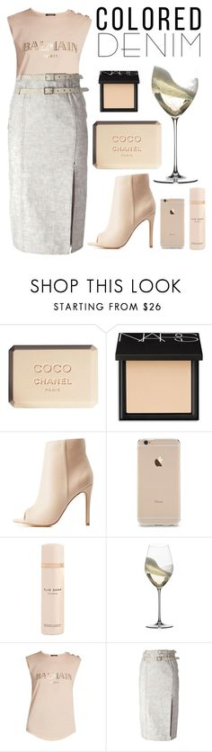 """""""Untitled #42"""" by silkandstilettos ❤ liked on Polyvore featuring Chanel, NARS Cosmetics, Charlotte Russe, Elie Saab, Riedel, Balmain and Christian Dior"""