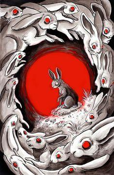 lin seedling illustration for Watership Down Creepy Drawings, Creepy Art, Art Drawings, Rabbit Drawing, Rabbit Art, Rabbit Hole, We All Mad Here, Arte Grunge, Arte Fashion